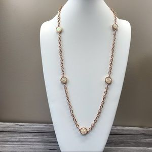 Jewelry - Long Pink faux opal rose gold necklace